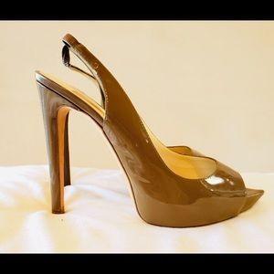 Rupert Sanderson Camel Patent leather High Heels